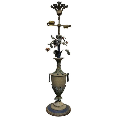 French Painted Tole Urn Form Lamp with Flowers