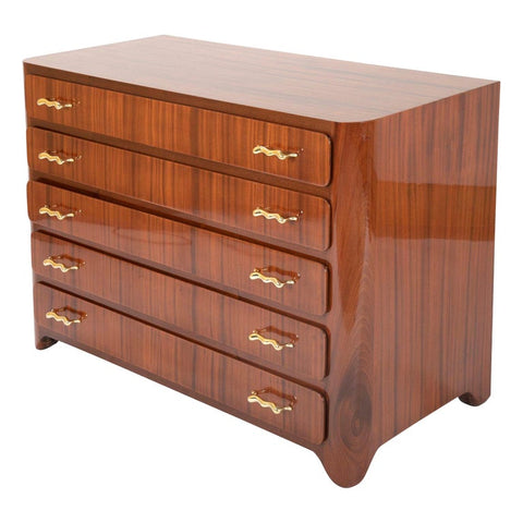 Tapered Sapele and Gilt Bronze Chest Designed by Guglielmo Ulrich