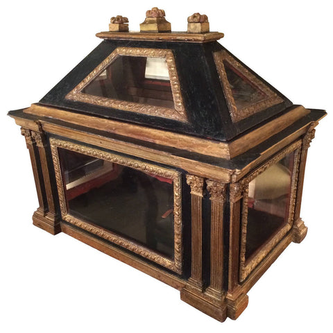 Italian Neoclassical Painted and Gilt Wood Reliquary