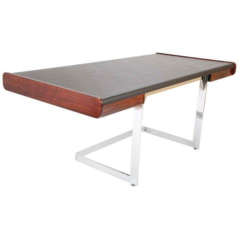 SOLD   4/2021   Rosewood and Leather Desk on Floating Chrome Base by Ste. Marie Laurent