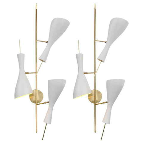 Three Brass and White Metal Shade Mid-Century Style Sconces, Italy, 2019
