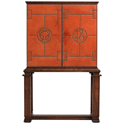 Leather and Brass Nail Dining Room Cabinet by Otto Schultz