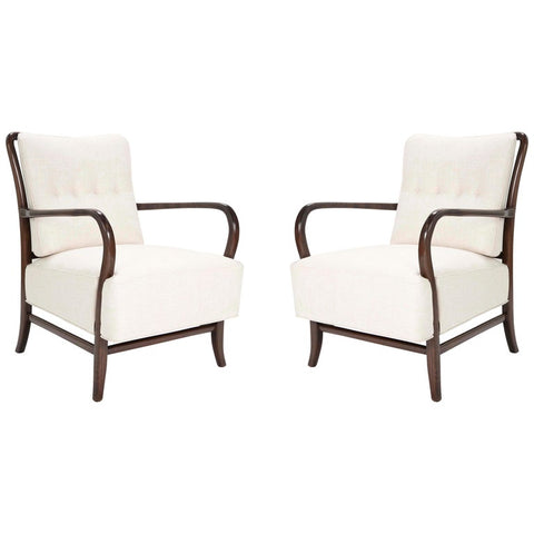 Pair of Italian Mid-Century Walnut Armchairs in the Manner of Paolo Buffa