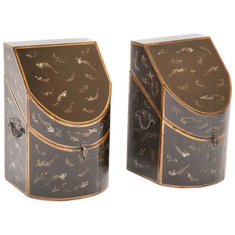 Rare pair of Japanese Nagasaki Export Lacquered Wood Knife Boxes