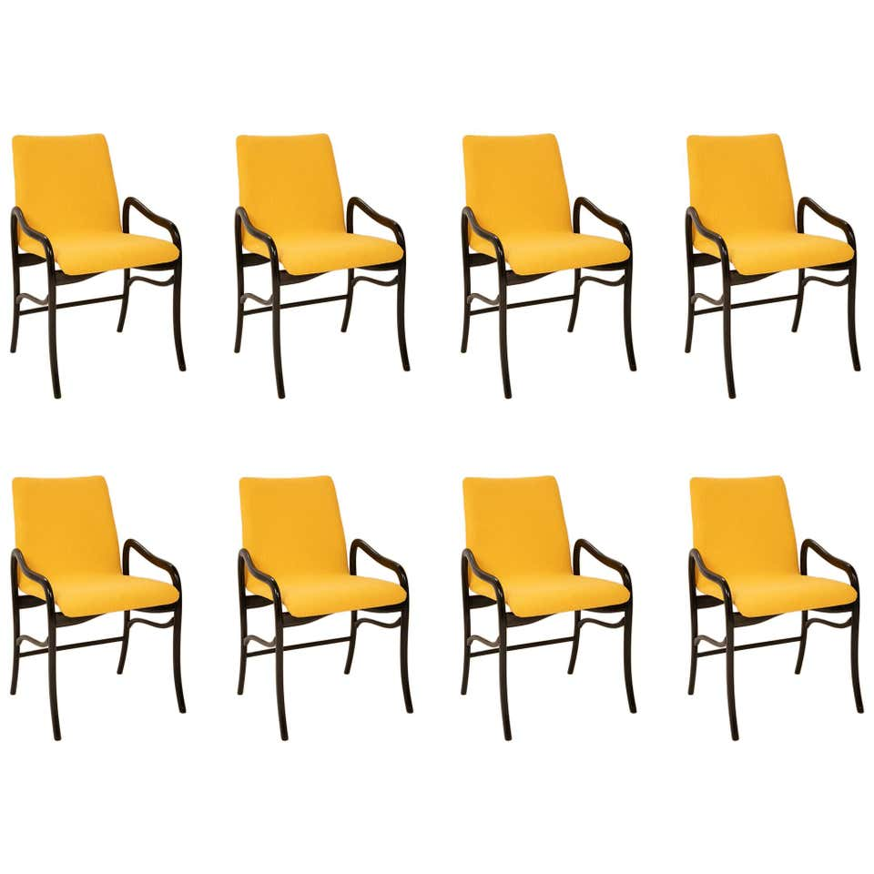 A Set of 8 Sculptural Italian Dining Chairs Attributed to Malatesta & Mason