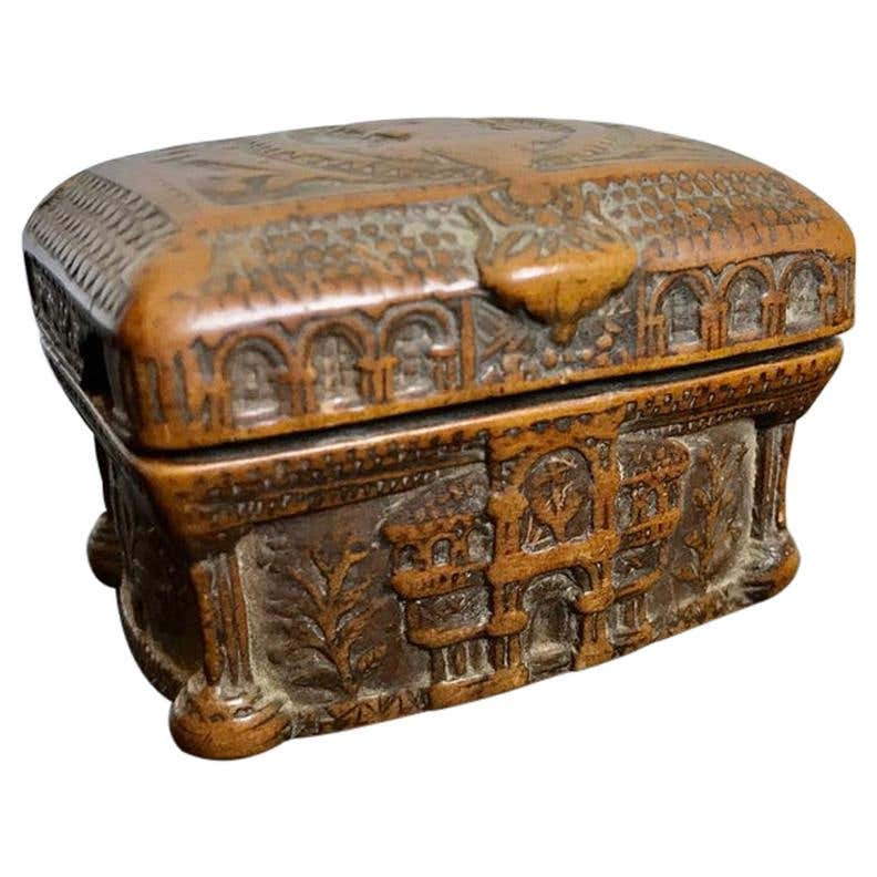 19th Century Hand Carved Coquilla Nut Tobacco Box