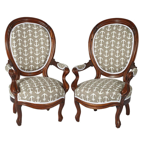 Pair of Victorian Oval-Back Mahogany Armchairs
