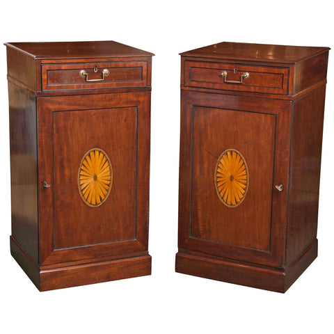 Pair of English Mahogany Hepplewhite Pedestal Cabinets
