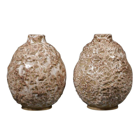 Pair of Lava French Pottery Vases