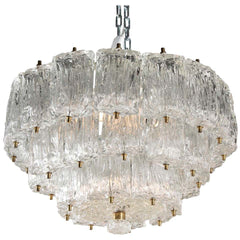 Three-Tier Murano Glass Chandelier by Barovier & Toso