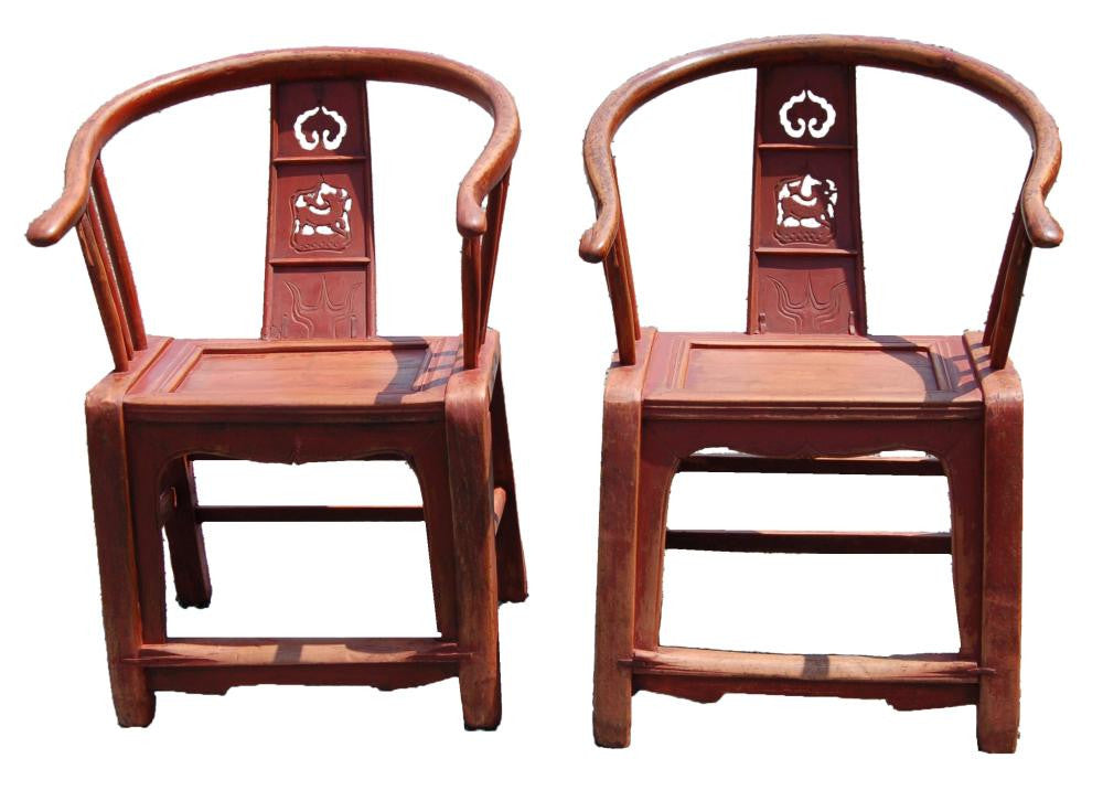 Chinese Red Painted Chairs