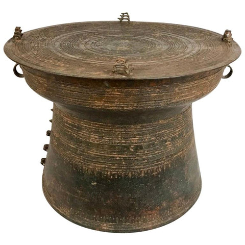 Burmese Bronze Rain Drum Side Table