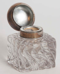 Cast Glass Inkwell with Sterling Lid