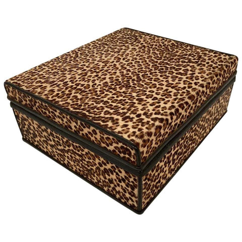 1960s French Leopard Box with Lizard Skin Interior and Black Leather Trim