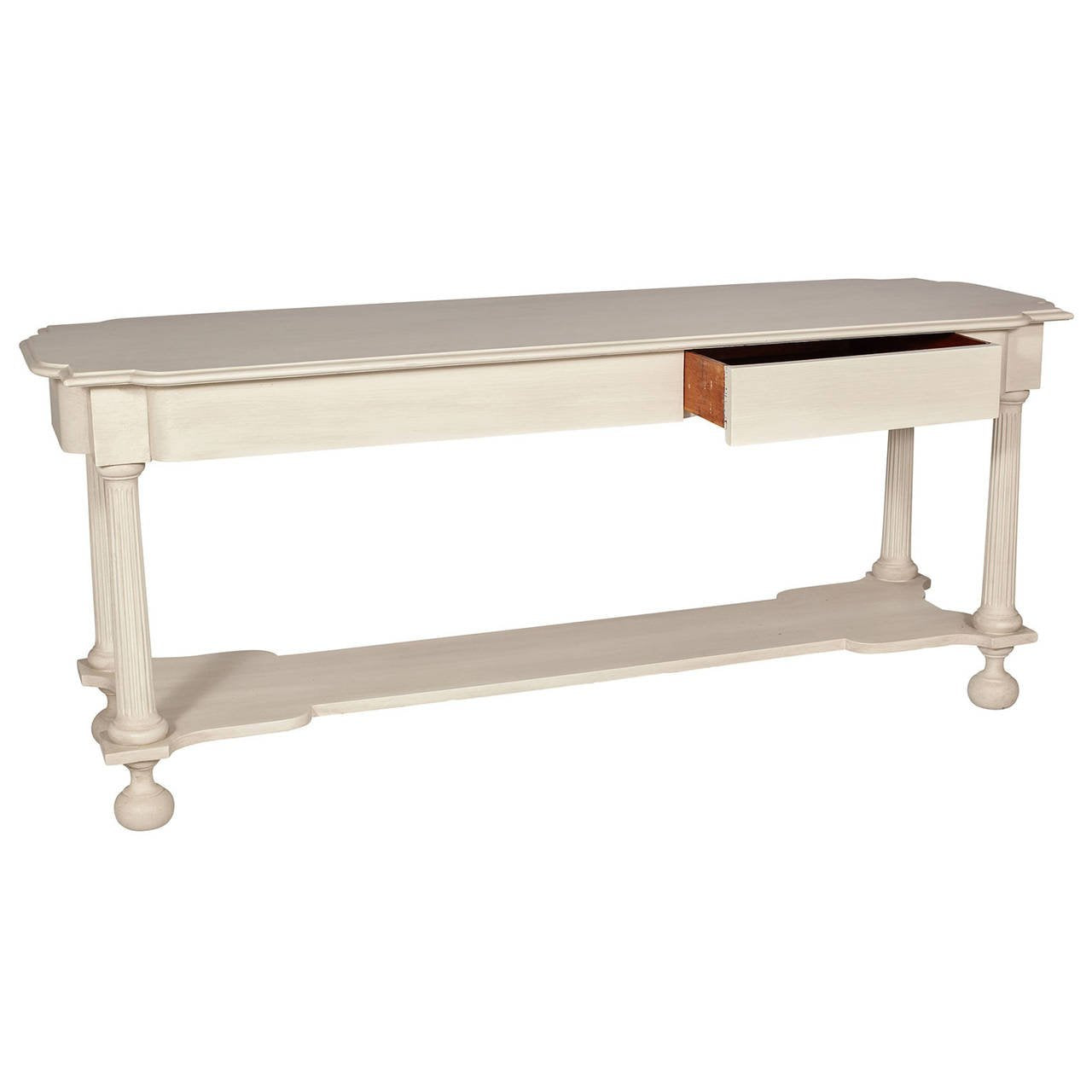 White Sofa Table with Lower Shelf