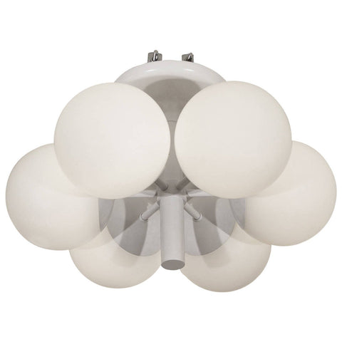 Six-Globe Satin White Radial Chandelier by Kaiser Leuchten