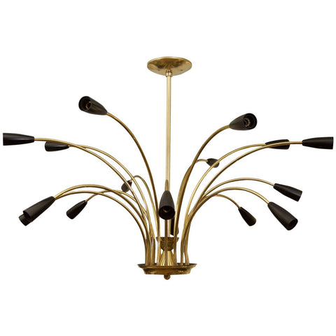 Stunning Black Enamel and Brass Chandelier in the Style of Stilnovo