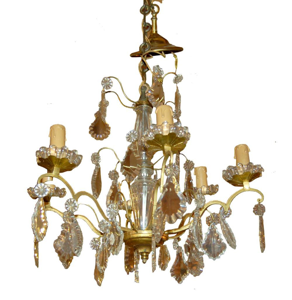 French Brass Drop Crystal Chandelier