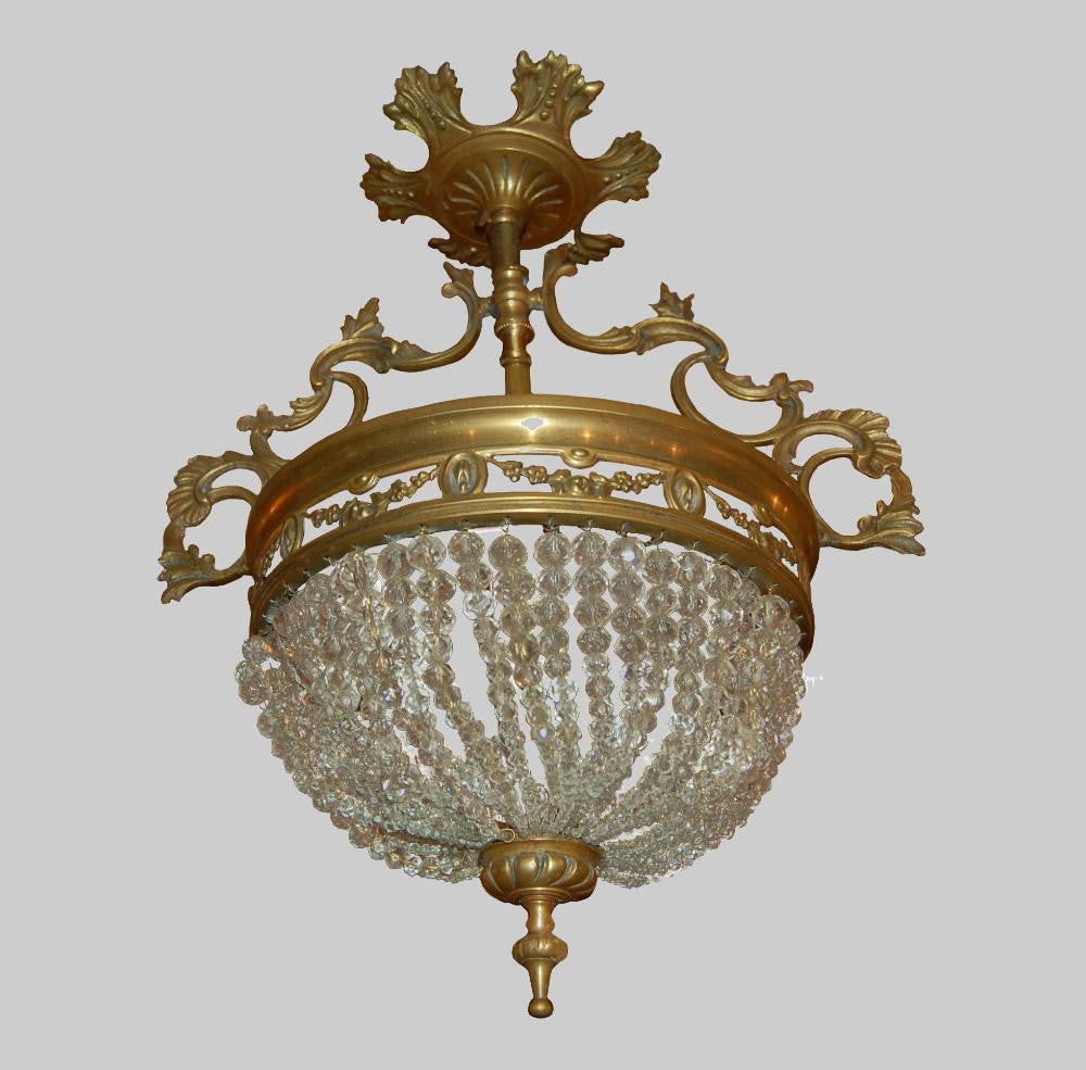 French Basket Form Chandelier