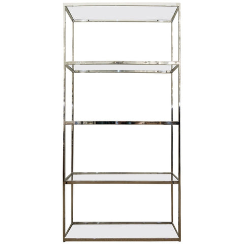 Chrome and Glass Etagere in the Style of Milo Baughman