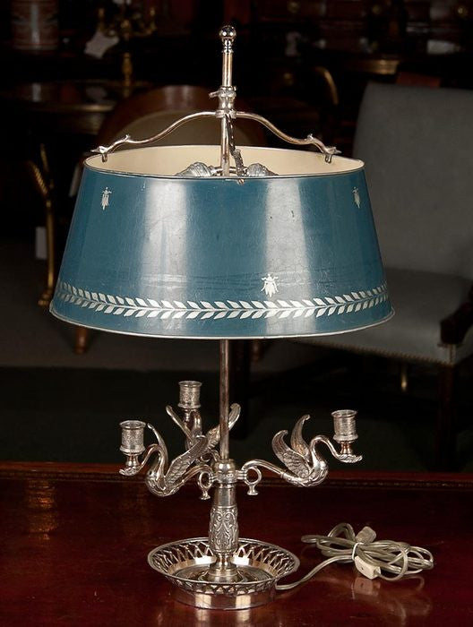 Pair of Silvered Bouillotte Lamps