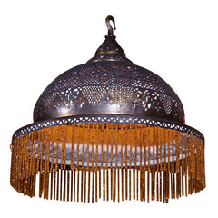 Pierced Brass Moorish Chandelier