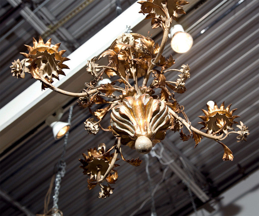 Gilt Wood & Tole Chandelier