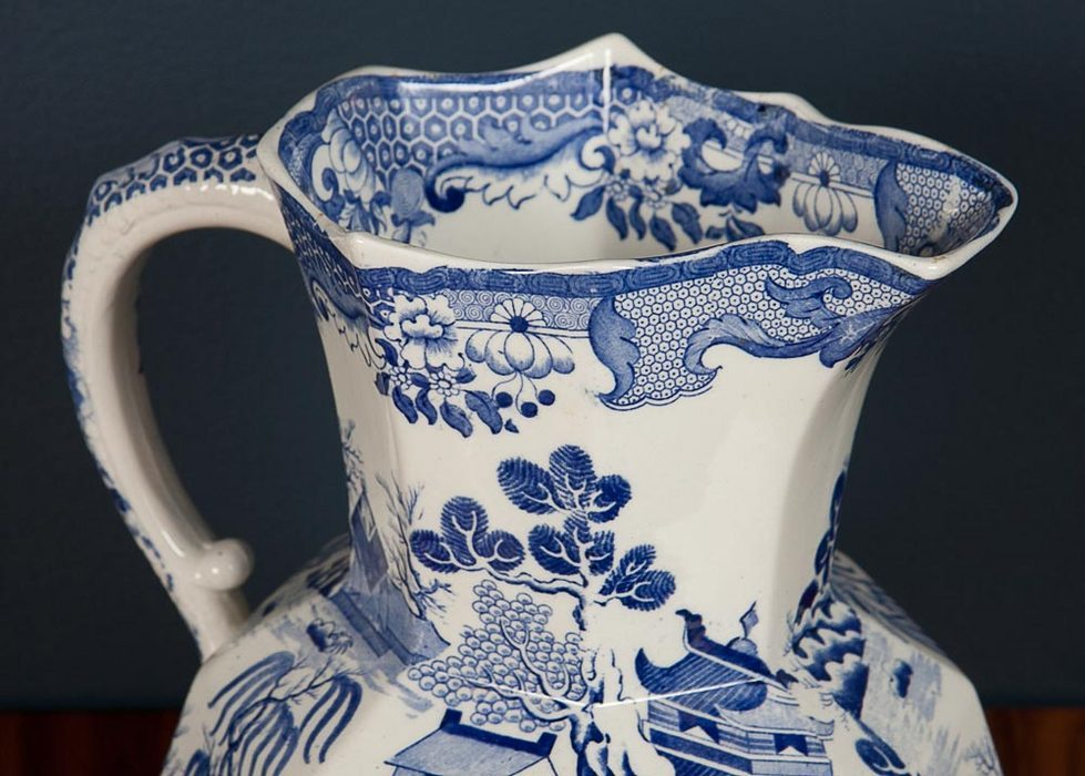 Blue and White Ironstone Pitcher