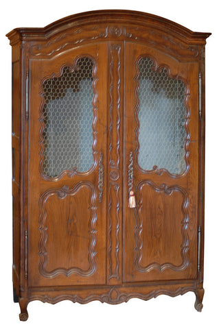 Large Carved Chestnut Armoire