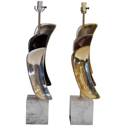 Sculptural Brass & Chrome Table Lamps by Laurel Lamp Company