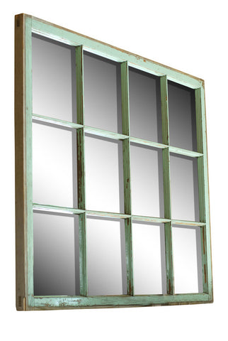 Green 12-Panel Barn Window Mirror