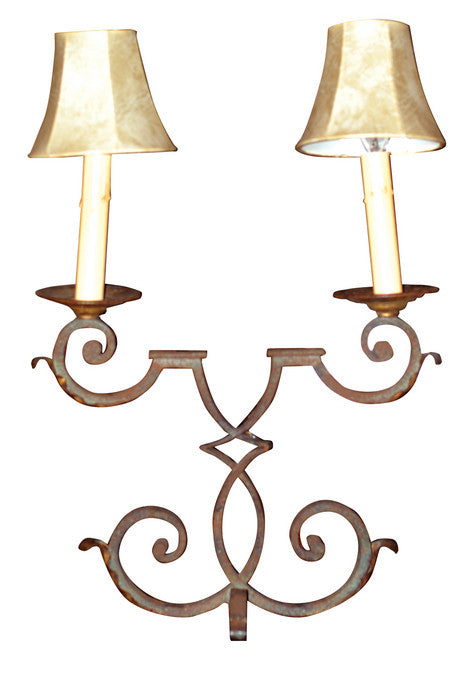 A Single Cast Iron 2-Arm Table Lamp