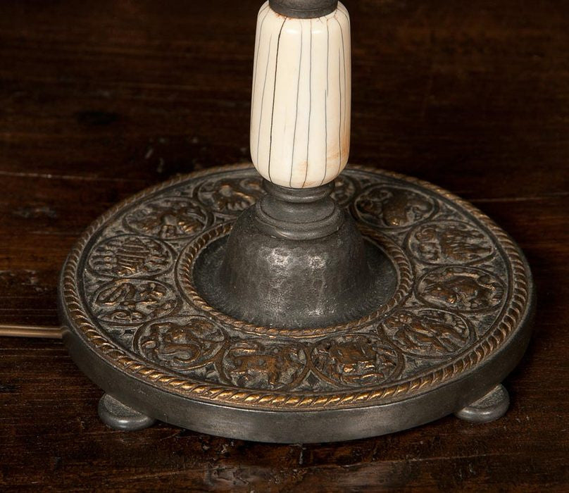 Bone and Gilt Pewter Lamp