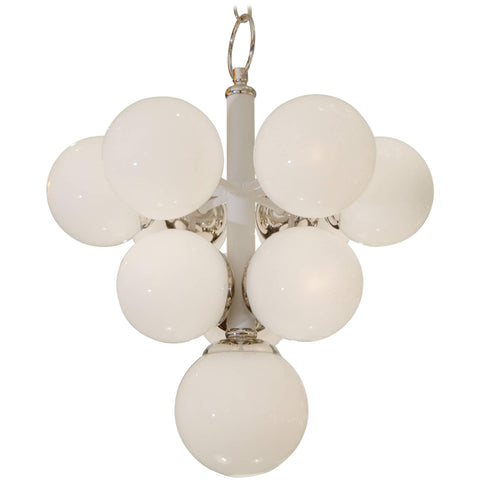 White Enameled Pyramid Chandelier with Gloss Opal Globes