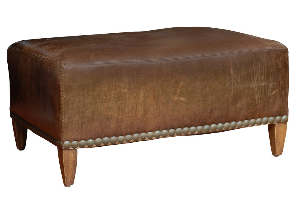 Vintage French Leather Ottoman