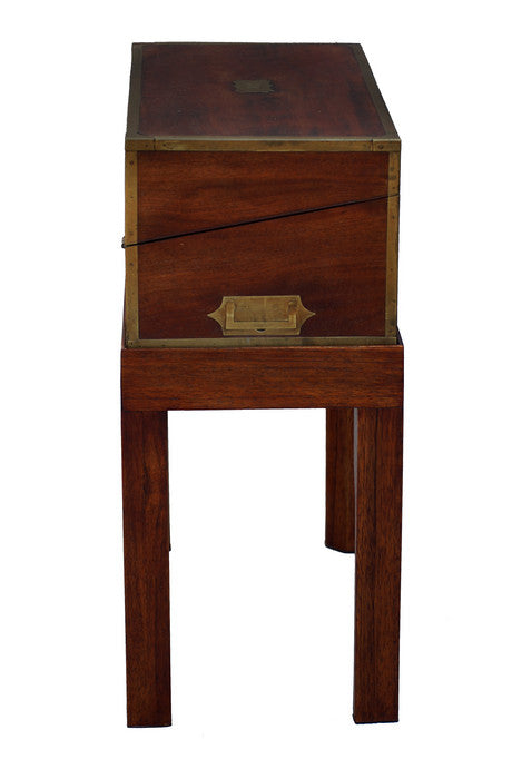 English Writing Desk on Stand with Brass Inlay