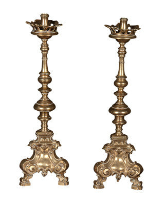 Pair of Tall Brass Candlesticks