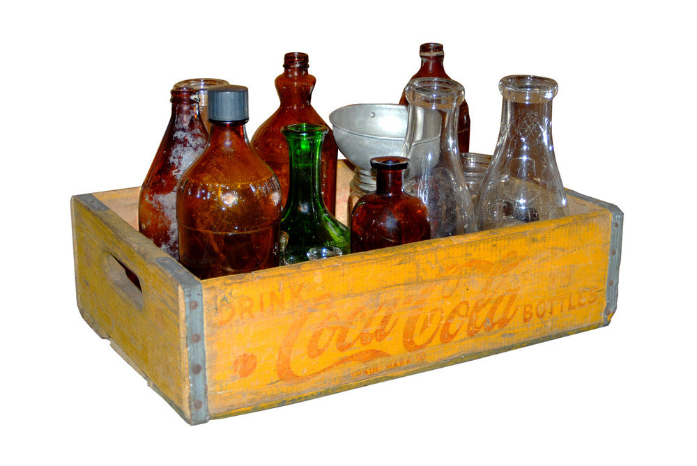 Coca-Cola Box with Various Vintage Bottles