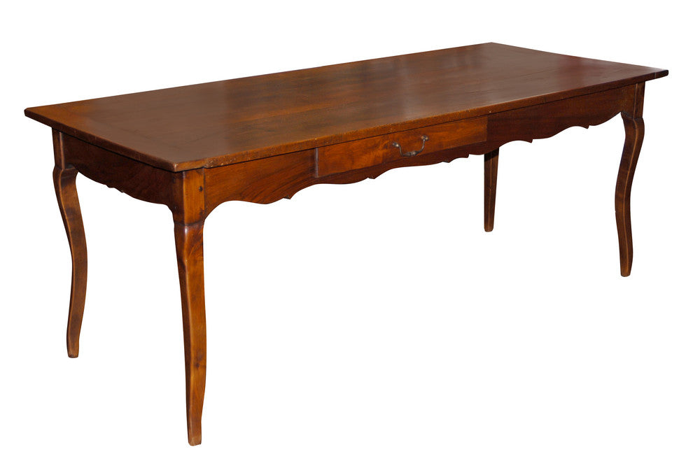 French Farm Table with Cabriole Legs and Drawer