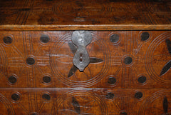 French Walnut Trunk with Burned Ornamentation