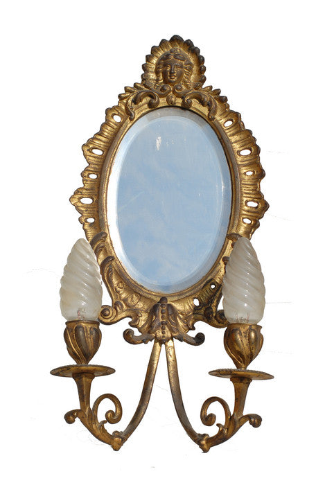 Pair of French Antique Sconces with Mirror