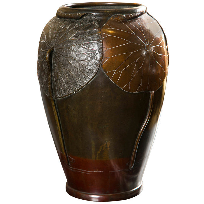 Japanese Bronze Vase With Lotus Leaf Design Avery Dash Collections