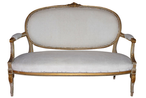 French Gilt Wood Carved Settee