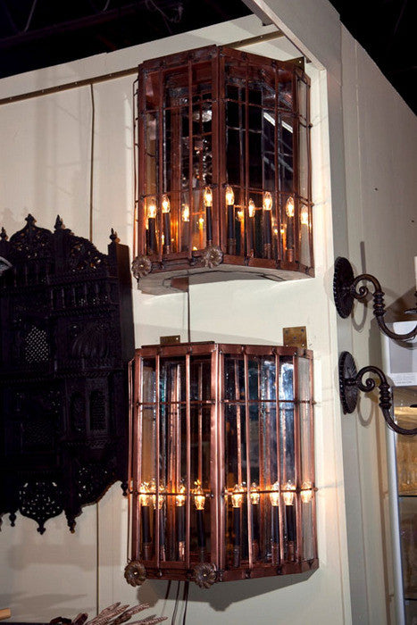 Monumental Pair of Copper Sconces