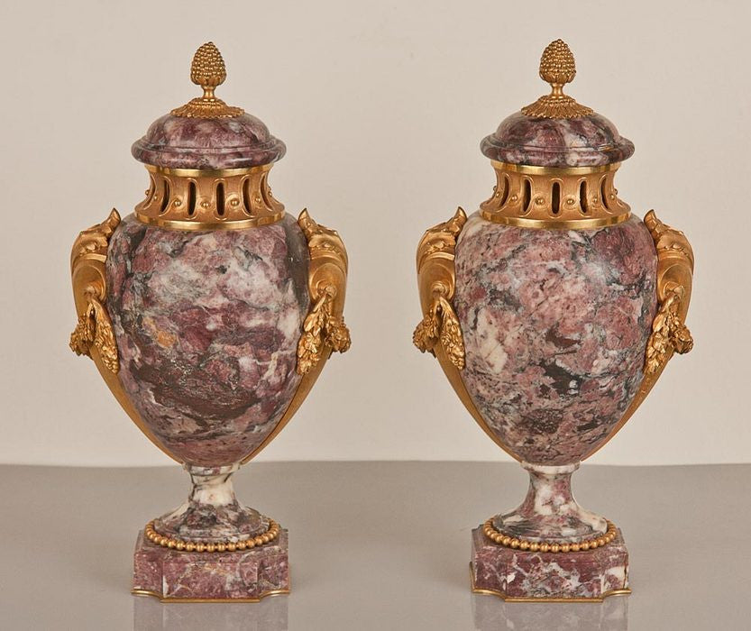 Pair of Marble and Bronze Urns