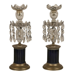 Regency Cobalt and Crystal Candlesticks