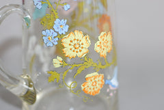 Glass Floral Printed Pitcher
