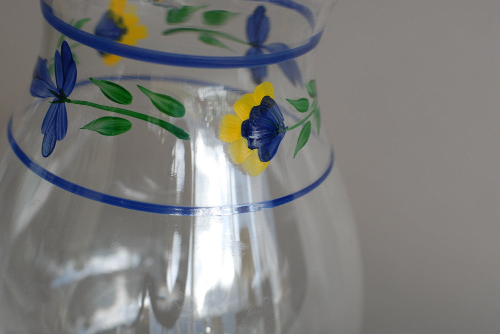 Hand Painted Floral Glass Vase