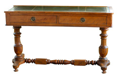 English Sofa Table with Green Leather Top