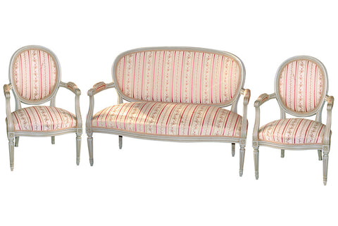 French Painted Settee with Four Chairs